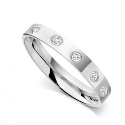 18ct White Gold Ladies 3mm Flat Court Wedding Band Set with 0.075ct of Diamonds on Top of Band