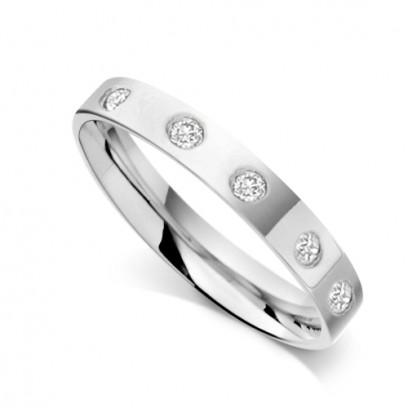 Palladium Ladies 3mm Flat Court Wedding Band Set with 0.075ct of Diamonds on Top of Band