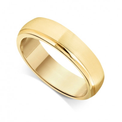 9ct Yellow Gold Gents 6mm Court Wedding Ring  With a Diamond Cut Groove on one Side
