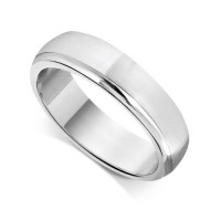 9ct White Gold Gents 6mm Court Wedding Ring  With a Diamond Cut Groove on one Side