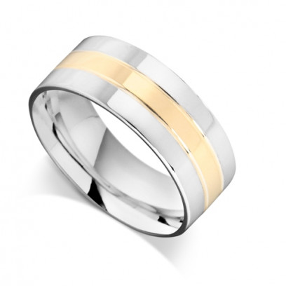 18ct Yellow Gold Gents 9mm Flat Wedding Ring with 2 x 3mm White Gold Bands on Each Side of Yellow Centre Band