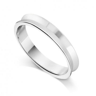 18ct White Gold Ladies 3mm Plain Wedding Ring With Concave Centre
