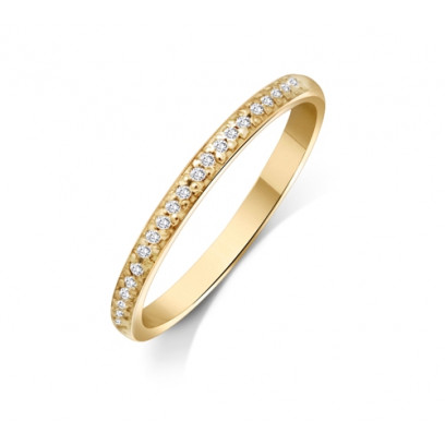 9ct Yellow Gold Ladies 2mm Court Shape Wedding Band Pavé Set with 0.012ct of Diamonds