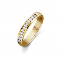9ct Yellow Gold Ladies 3mm Court Shape Wedding Band Channel Set with 0.3ct of Diamonds