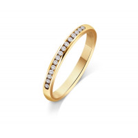 9ct Yellow Gold Ladies 2mm Court Shape Wedding Band Channel Set with 0.15ct of Diamonds
