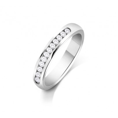 9ct White Gold Ladies 3mm Court Shape Wedding Band Channel Set with 0.3ct of Diamonds