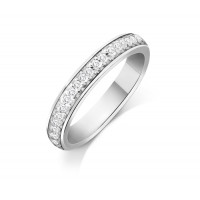 9ct White Gold Ladies 3mm Court Shape Wedding Band Pavé Set with 0.19ct of Diamonds
