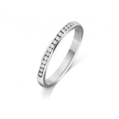 9ct White Gold Ladies 2mm Court Shape Wedding Band Channel Set with 0.15ct of Diamonds