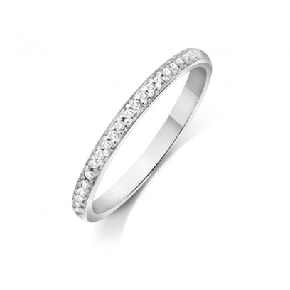 18ct White Gold Ladies 2mm Court Shape Wedding Band Pavé Set with 0.012ct of Diamonds