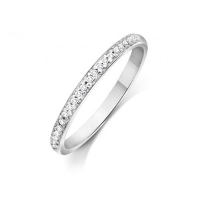 Palladium Ladies 2mm Court Shape Wedding Band Pavé Set with 0.012ct of Diamonds
