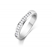 Palladium Ladies 3mm Court Shape Wedding Band Channel Set with 0.3ct of Diamonds