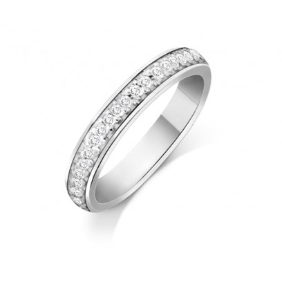 Palladium Ladies 3mm Court Shape Wedding Band Pavé Set with 0.19ct of Diamonds