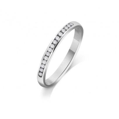 Palladium Ladies 2mm Court Shape Wedding Band Channel Set with 0.15ct of Diamonds