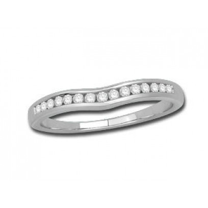 9ct White Gold Ladies 2.7mm wide Channel Set Shallow Curved Ring Set with 0.16ct of Diamonds