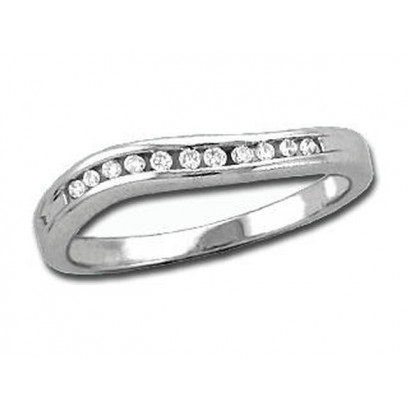 9ct White Gold Ladies 3mm wide Wave Channel Set Ring with 0.12ct of Diamonds