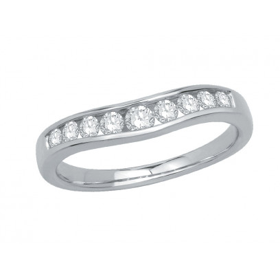 9ct White Gold Ladies Graduated Channel Set Diamond Ring Set with 0.38ct of Diamonds