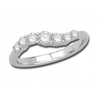 9ct White Gold Ladies Claw Set Wave Ring Set with 0.50ct of Diamonds