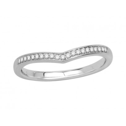 9ct White Gold Ladies 2mm wide Pavé Set Wishbone Ring with Millgrain Edges and 0.07ct of Diamonds