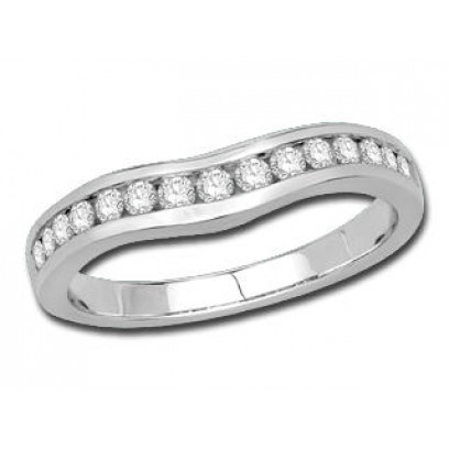 9ct White Gold Ladies Channel Set Curved Ring Set with 0.33ct of Diamonds