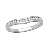 9ct White Gold Ladies Channel Set Shallow Curved Ring Set with 0.16ct of Diamonds