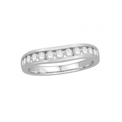 9ct White Gold Ladies Channel Set Shallow Curved Wedding Ring Set with 0.50ct of Diamonds