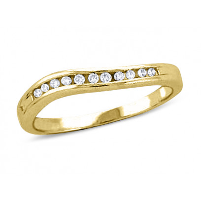 18ct Yellow Gold Ladies 3mm wide Wave Channel Set Ring with 0.12ct of Diamonds