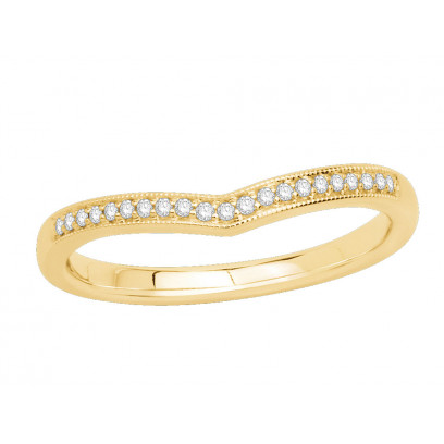18ct Yellow Gold Ladies 2mm wide Pavé Set Wishbone Ring with Millgrain Edges and 0.07ct of Diamonds