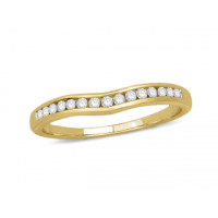 18ct Yellow Gold Ladies Channel Set Shallow Curved Ring Set with 0.16ct of Diamonds