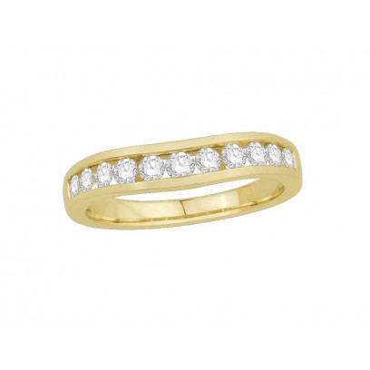 9ct Yellow Gold Ladies 4mm wide Channel Set Shallow Curved Wedding Ring Set with 0.50ct of Diamonds