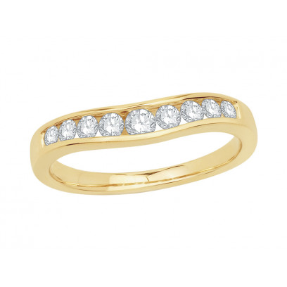 9ct Yellow Gold Ladies Graduated Channel Set Diamond Ring Set with 0.38ct of Diamonds