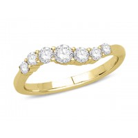9ct Yellow Gold Ladies Claw Set Wave Ring Set with 0.50ct of Diamonds