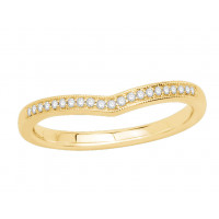 9ct Yellow Gold Ladies 2mm wide Pavé Set Wishbone Ring with Millgrain Edges and 0.07ct of Diamonds