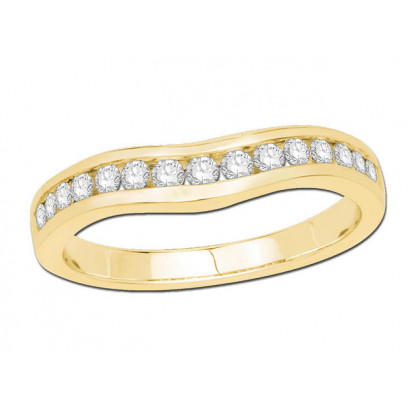 9ct Yellow Gold Ladies Channel Set Curved Ring Set with 0.33ct of Diamonds