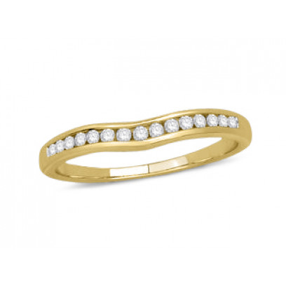9ct Yellow Gold Ladies Channel Set Shallow Curved Ring Set with 0.16ct of Diamonds