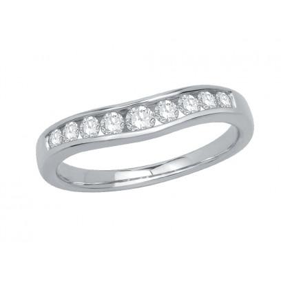 Platinum Ladies Graduated Channel Set Diamond Ring Set with 0.38ct of Diamonds
