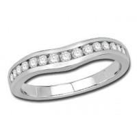 Platinum Ladies Channel Set Curved Ring Set with 0.33ct of Diamonds