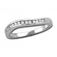 18ct White Gold Ladies 3mm wide Wave Channel Set Ring with 0.12ct of Diamonds