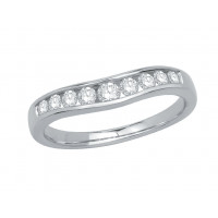 Palladium Ladies Graduated Channel Set Diamond Ring Set with 0.38ct of Diamonds