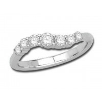 Palladium Ladies Claw Set Wave Ring Set with 0.50ct of Diamonds