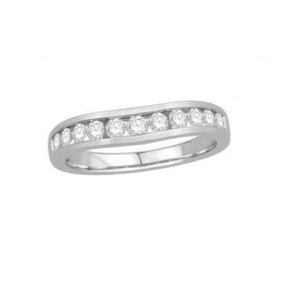 Palladium Ladies Channel Set Shallow Curved Wedding Ring Set with 0.50ct of Diamonds