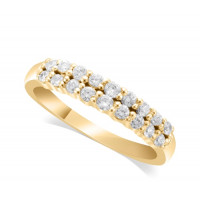 9ct Yellow Gold Ladies 4mm 2-Row Graduated Diamond Ring Set with 0.58ct of Diamonds