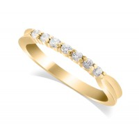 9ct Yellow Gold Ladies 7-Stone Diamond Wedding Ring with Inverted Shoulders and 0.17ct of Diamonds
