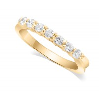 9ct Yellow Gold Ladies 7-Stone Diamond Wedding Ring with Inverted Shoulders and 0.35ct of Diamonds