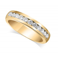 9ct Yellow Gold Ladies Court Shape 4mm Channel Set Diamond Half Eternity Ring Set with 0.50ct of Diamonds