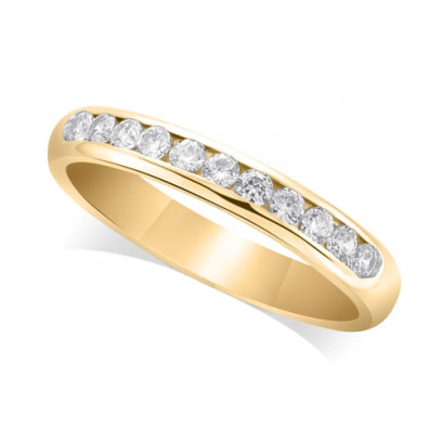 9ct Yellow Gold Ladies Court Shape 3mm Channel Set Diamond Half Eternity Ring Set with 0.33ct of Diamonds