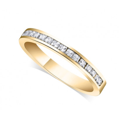 9ct Yellow Gold Ladies 3mm Channel Set Princess Cut Diamond Eternity Ring Set with 0.34ct of Diamonds