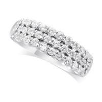 9ct White Gold Ladies 6.5mm wide 3-Row Diamond Wedding Ring Set with 0.70ct of Diamonds