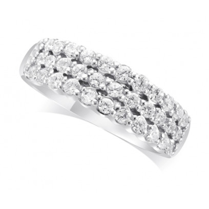9ct White Gold Ladies 6.5mm wide 3-Row Diamond Wedding Ring Set with 0.70ct of Diamonds