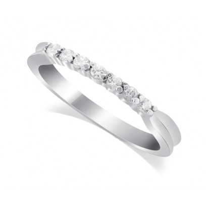 9ct White Gold Ladies 7-Stone Diamond Wedding Ring with Inverted Shoulders and 0.17ct of Diamonds