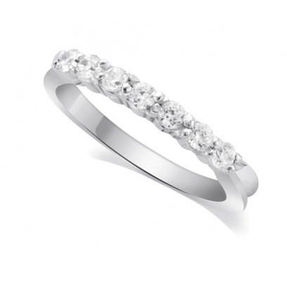 9ct White Gold Ladies 7-Stone Diamond Wedding Ring with Inverted Shoulders and 0.35ct of Diamonds